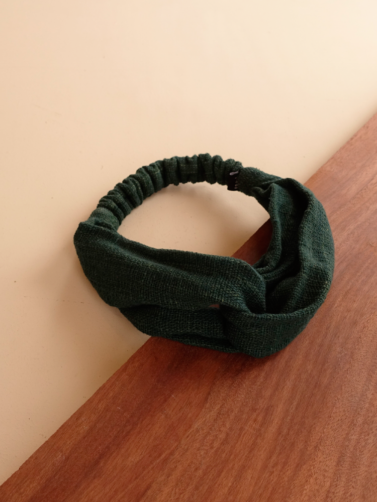 Hand-woven Hairband_Deep Green