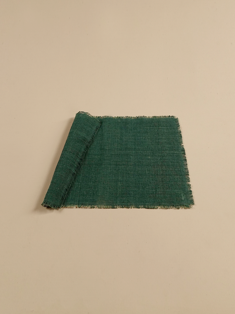 Hand-woven Placemat (Fringe)_Deep Green