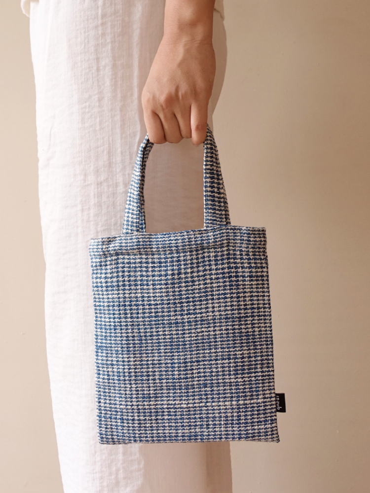 Hand-woven Drawingbook Ecobag_Blue Pattern